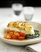 Pike-perch with potato topping on spinach and tomatoes