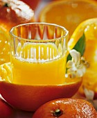 Orange juice in a glass in half an orange