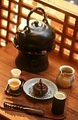 Teapot and tea on a tray (La Maison de Trois The, Paris)