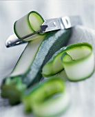 Peeled Zucchini with Peeler