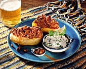 Baked potatoes with parsley dip; beer
