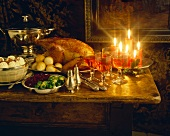 Christmas buffet with turkey, dumplings, sprouts and wine