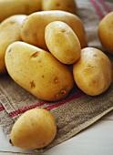 Potatoes on a linen cloth