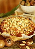 Honey cake with nuts and almonds