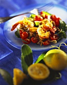 Tomato and aubergine salad with shrimps and basil
