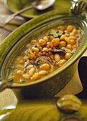 Bean soup with chick peas, barley and mushrooms