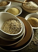 Various types of grain in bowls