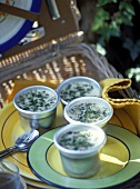 Herb mousse in small bowls for picnic