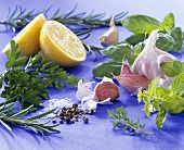 Fresh herbs, garlic, lemon, pepper and salt