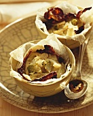 Cauliflower flan with radicchio and balsamic vinegar