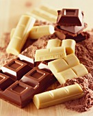 Pieces of white and dark chocolate and cocoa powder