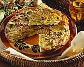 Frittata with courgettes, mushrooms and sesame
