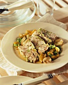 Meat terrine with peas and onions