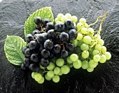 Red and green grapes on granite slab