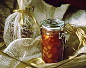 Peach chutney in jar as a gift