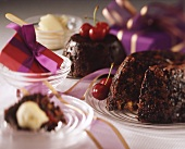 Plum pudding with cherries for Christmas