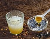Radish juice, sugar crystals & linseed in milk with honey