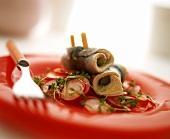 Rollmops on radish salad with cress