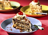 Ice cream gateau with muesli flakes & grated chocolate