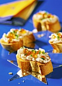 Toast with salmon mousse and caviare