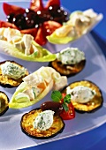 Aubergine slices with goat's cheese and stuffed chicory
