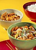 Vegetables in mandarin sauce; spicy chicken; rice