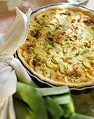Leek quiche in blue baking dish