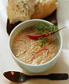Turkish red lentil soup with chili, chervil & flat bread