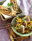 Fish stir-fry with pumpkin; sandwich with vegetable tartare