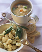 Gnocchi with sage butter; vegetable broth with rice; baguette