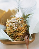 Vegetable cakes with herbs and flat bread