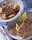 Grilled lamb chops; oven-cooked lamb & vegetables
