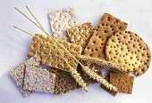 Various types of crispbreads with cereal ears