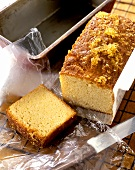 Freshly baked lemon & ginger cake on baking paper