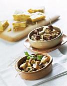 Mushrooms with garlic; aubergine rolls; omelette