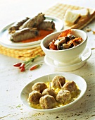 Veal balls; chorizo with mushrooms; meat rolls