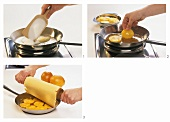 Making orange tart: caramelising oranges