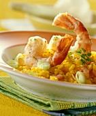 Risotto con i gamberoni (Saffron risotto with king prawns)