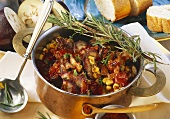 Spicy pork goulash with aubergines & sweetcorn in pot