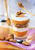 Yoghurt with cornflakes and apricot compote in jar