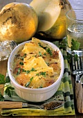 Turnip gratin with caraway and fresh parsley