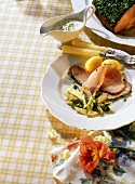Ham with spring vegetables, boiled potatoes & cress sauce