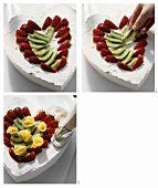 Decorating Mother's Day heart with fruit and cream