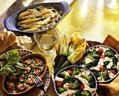 Broccoli gratin; courgette gratin; asparagus gratin