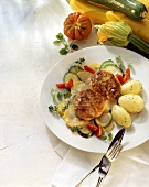 Rissoles with courgettes and parsley potatoes
