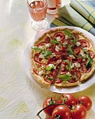 Tomato tart with goat's cheese and rocket