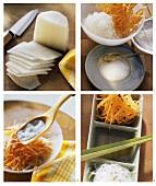 Making Japanese salad (radish namasu)