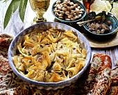 Lebanese baklava in a dish; sugar candy; pistachios