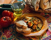 Provencal vegetables with white bread; olive oil, tomatoes