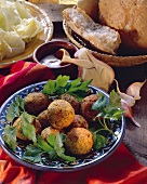 Felafel (chick pea balls) with flat bread and dip